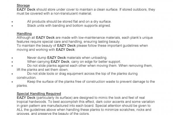 EAZY DECK MAINTENANCE VERSION JUL 2015
