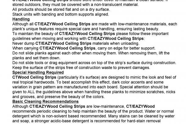 EAZYWOOD CEILING STRIP MAINTENANCE MANUAL VERSION 2012